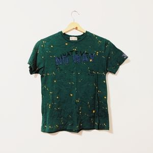 Zara green no way t-shirt embroidered size 8
